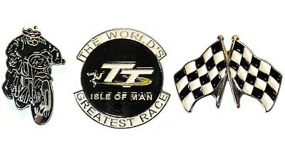 Isle Of Man TT Greatest Race Set Motorcycle Metal Biker Motorbike Badges NEW • 4.99£