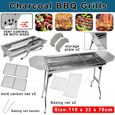 AU56.10 • Buy Portable & Foldable Charcoal BBQ Grills Stainless Steel Outdoor Camping AU Stock