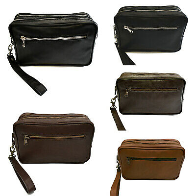ea1158d23a VIETRI LEATHER - POCHETTE UOMO BORSELLO - Vera Pelle Nero Marrone Made In  Italy • 39
