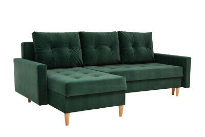 Corner Sofa Bed With Storage In Green Velvet Fabric With Wooden Legs PROMOTION • 379£