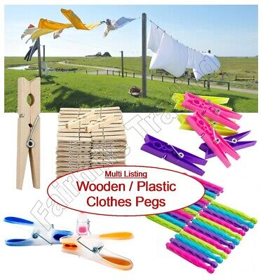 £2.99 • Buy Wooden Plastic Clothes Pegs Washing Line Rotary Dryer Laundry Airer Garden Dolly