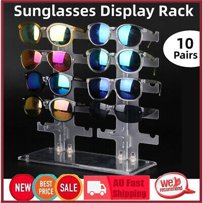AU11.89 • Buy Pro 2Row 10 Pairs Sunglasses Glasses Rack Holder Frame Display Stand Transparent
