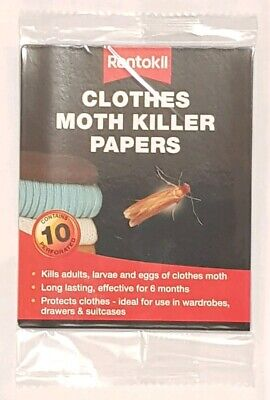 Rentokil Clothes Moth Killer Papers Kills Adults Larvae And Eggs Last 6 Months • 5.49£