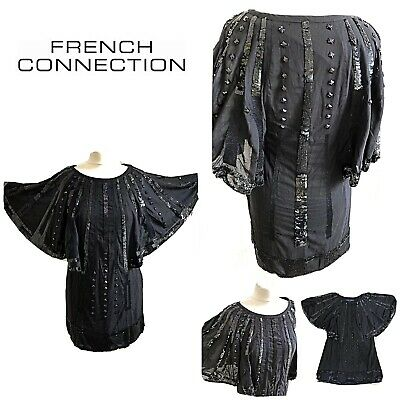 FRENCH CONNECTION 10 12 Heavily Beaded. GATSBY Dress  1920's Flapper / Art Deco • 14.99£