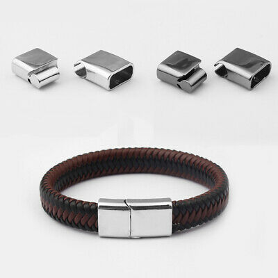 3 Sets Stainless Steel Clasp Magnetic Clasps Connector For Leather Cord Bracelet • 3.59£