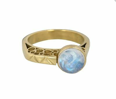 $849.99 • Buy Women's Modernist 18K Yellow Gold Moonstone Moon Face Carved Cocktail Ring
