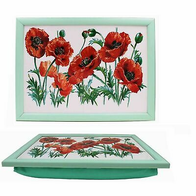 Poppy Cushioned Bean Bag Home Lap Tray Drinks Food Serving Trays Gift Lap Tray • 10.89£
