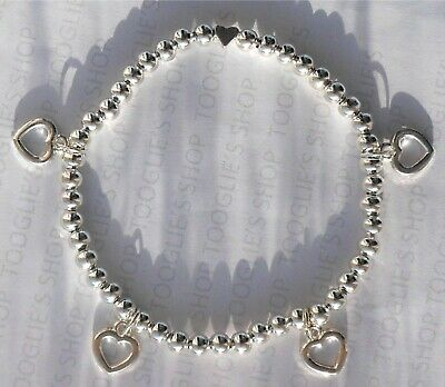 Handmade Silver Plated Stacking Bead Stretch Bracelet With Heart Charms (128) • 2.99£