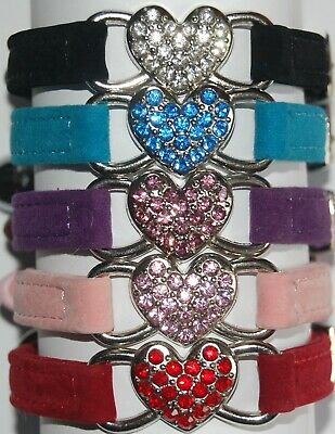 Soft Velvet Elasticated Cat Collar With Diamante Heart & Engraved ID Tag • 1.85£