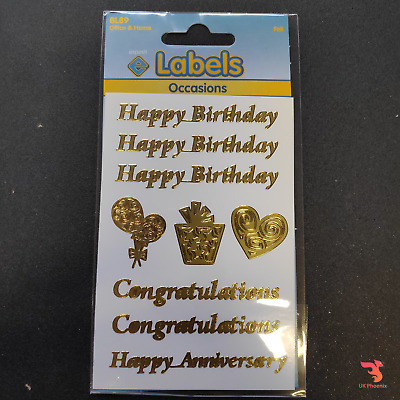 Sheet Of Gold Foil Occasions Stickers Happy Birthday Card Congratulations Craft • 1.99£