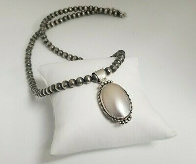 $325 • Buy Stunning Mabe Pearl Pin/Pendant On Handmade Sterling Silver Beaded Necklace