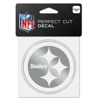 $6.99 • Buy Pittsburgh Steelers Silver Metallic Chrome Perfect Cut Decal 4 X4  Nfl Licensed