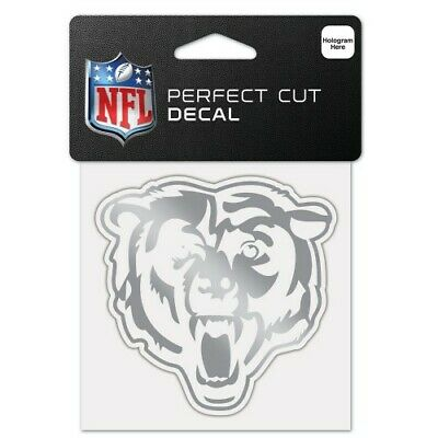 $6.99 • Buy Chicago Bears Silver Metallic Chrome Perfect Cut Decal 4 X4  Nfl Licensed