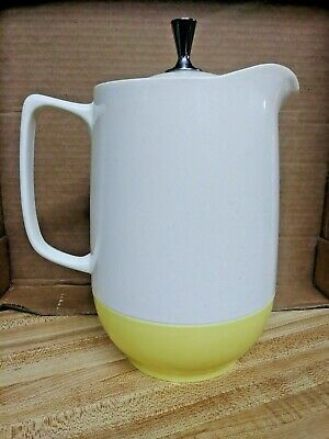 Vintage Vacron White And Yellow Bopp-decker Lidded Pitcher With Chrome Knob  Mcm • 20$
