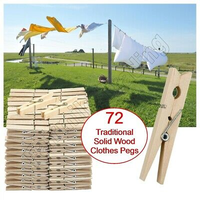 £4.39 • Buy 72 Solid Wooden Clothes Pegs Clips Washing Line Airer Rotary Dry Laundry Garden