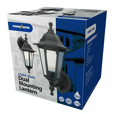 Powermaster Outdoor 6 Sided IP44 Dual Mounting Wall Lantern Security Light Black • 10.50£
