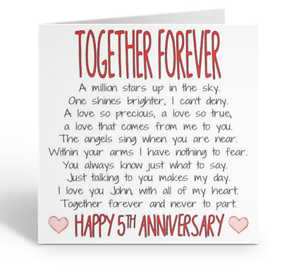 Personalised Husband Wife Happy Anniversary Card Love 1st 3rd 5th 10th 15th 25th • 3.49£