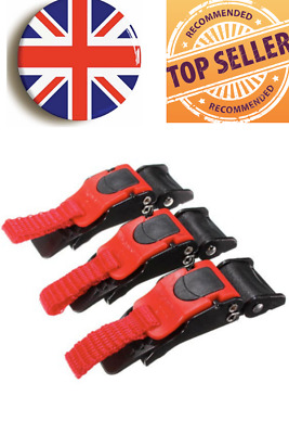 £5.99 • Buy 3x Sawtooth Plastic Motorcycle Helmet Speed Clip Chin Strap Quick Release Uk