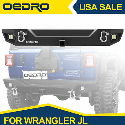OEDRO Rear Bumper For 2018 2019 Jeep Wrangler JL W/ Hitch Receiver LED Lights • 209.99$