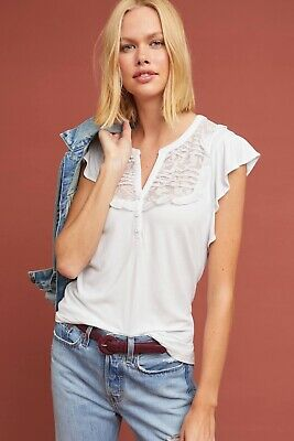 $ CDN44.56 • Buy NWT NEW Anthropologie Maeve  Gillham Flutter-Sleeve Top Shirt Size Large L White