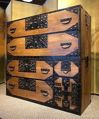 Antique Japanese Sado Tansu Clothing Chest With Crane And Tortoise Motifs. • 5,500$