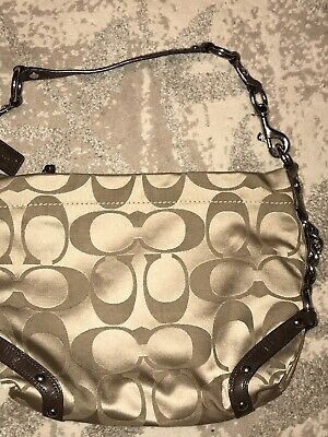 $ CDN50.64 • Buy Coach Signature Sateen Carly Hobo Shoulder Bag Handbag F15250 Khaki Gold