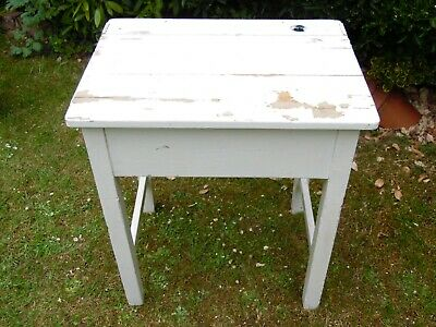 Vintage Original Wooden School Desk Shabby Chic White • 40£