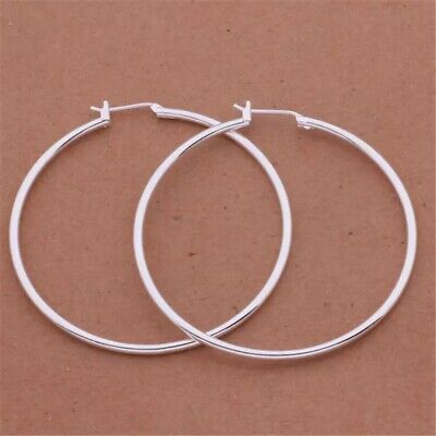 """$7.89 • Buy Womens 925 Sterling Silver 50mm 2"""" Big Round Large Thin Hoop Earrings E39"""