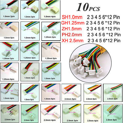 AU2.89 • Buy 10pcs JST 2 3 4 5 6 7 8 *12 Pin Male & Female Battery Connector Plug With Cable