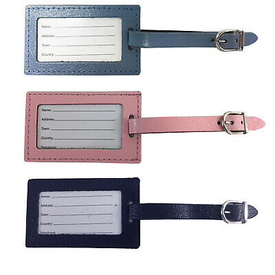 £5.95 • Buy Leather Luggage Tags Suitcase Id Card Name Label Baggage Holiday Travel Address