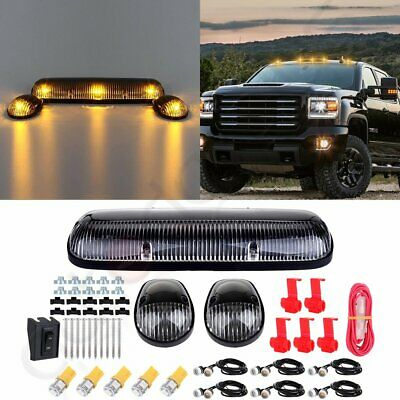 $29.39 • Buy 3PCS Clear Cab Roof Marker Lights + T10 Amber LED For Chevy Silverado/GMC Sierra