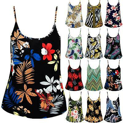 £1.75 • Buy Womens Ladies Floral Printed Camisole Casual Flared Thin Strappy Swing Vest Top
