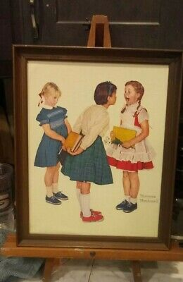 $ CDN32.88 • Buy Vintage Art Norman Rockwell Lithograph On Canvas  The Missing Tooth  Framed