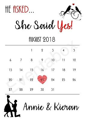 Personalised Engagement She Said Yes Print Gift Present Calendar Anniversary • 2.49£