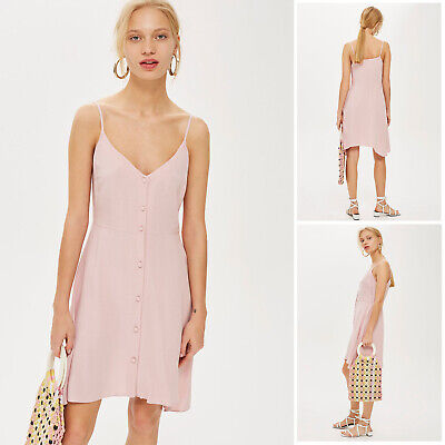 £11.89 • Buy TOPSHOP NEW Womens Pink Button Through Mini Summer Holiday Casual Dress 8 To 18