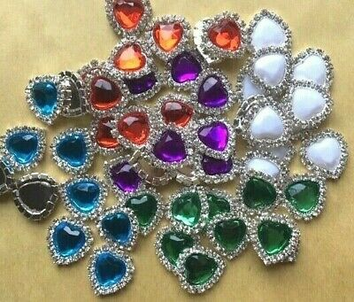 £2.49 • Buy 10 Faceted Colour Heart Embellishments Diamante Crystal Craft DIY 15mm X 17mm