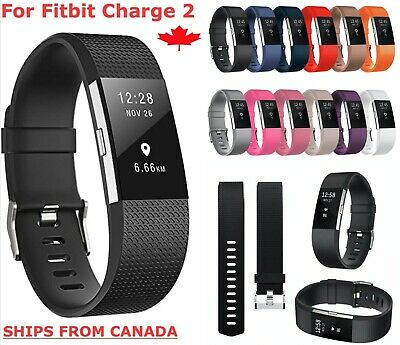 $ CDN5.89 • Buy For Fitbit Charge 2 Band Replacement Straps Silicone Black Bands Small Large