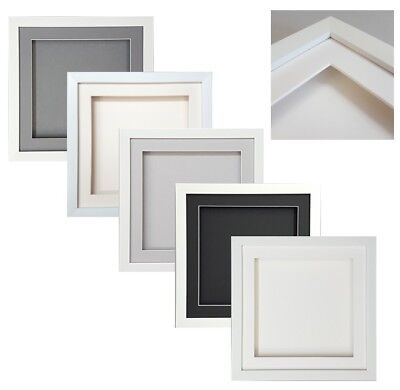 3D Box White SQUARE Picture Photo Frame Sports Medals Record CD Display Scrabble • 14.99£