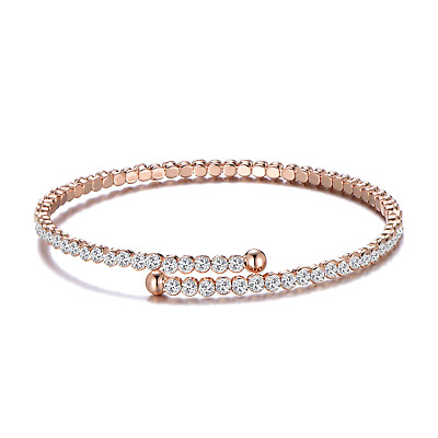 Rose Gold Stretch Tennis Bangle Created With Swarovski® Crystals By Philip Jones • 12.95£