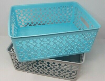 Set Of 2 Handy Storage Baskets Tidy Light Blue Grey Colours 36x29x13cm • 7.34£