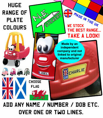 Front & Rear Personalised Number Plates TO FIT Little Tikes Cozy Coupe Toy Car • 2£
