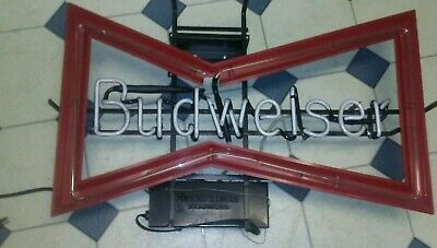 $ CDN651.63 • Buy Vintage Bud Budweiser Beer Bow Tie Neon Light Bar Advertising Tin Glass Sign