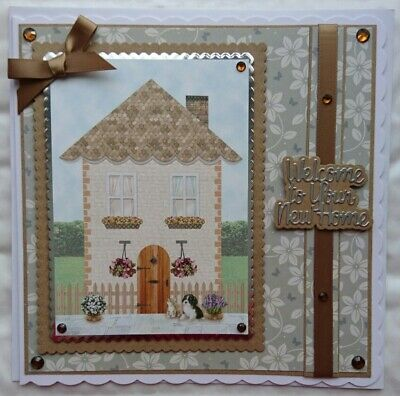 3D LUXURY HANDMADE CARD NEW HOME HOUSE FLOWERS CAT DOG LARGE 8x8 SIZE • 4.99£