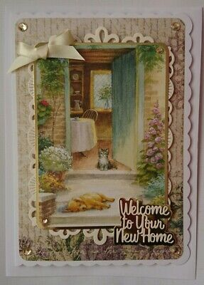 3d Luxury Handmade Card Welcome To Your New Home Cat Dog Flowers A5 Size #2 • 5.99£