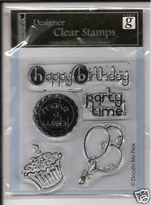 Dovecraft Clear Cling Stamps Happy Birthday Party Time Balloons Cake Make A Wish • 2.99£