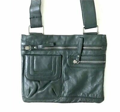 $ CDN69.99 • Buy Danier 90s Vintage Dark Green Genuine Leather Handbag Black Bag Diesel Rudsak
