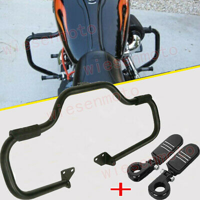 $173.89 • Buy Fit 06-17 Harley Dyna FXD Black Mustache Engine Guard Crash Bar+Clamps Foot Pegs