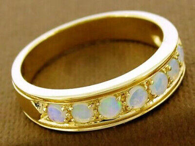 AU344.91 • Buy R077 Genuine 9ct Solid Gold Natural Opal Wedding Eternity Ring Band In Your Size