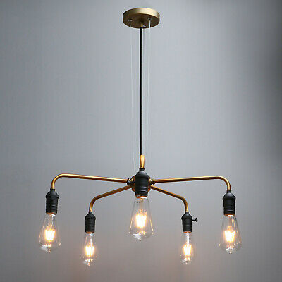 Antique Industrial 5 Way Cluster Pendant Lamp Chandelier Ceiling Light Fitting • 49.98£