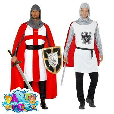 £16.29 • Buy Adult Mens St George Medieval Knight Fancy Dress Costume England Solider Outfit